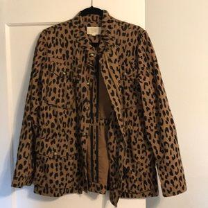 Animal print utility jacket